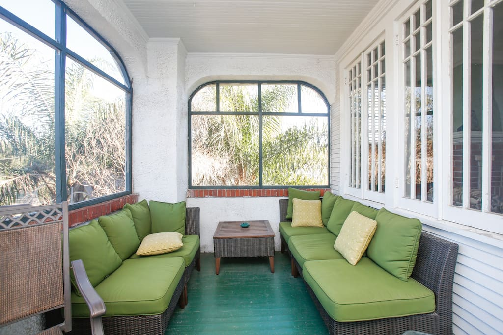 Perfect porch for napping or enjoying great conversation. Enjoy fabulous views of the park from this perch above the neighborhood.