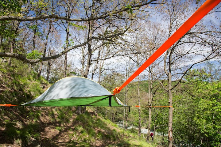 TENTSILE - suspended between TREES on the RIVER