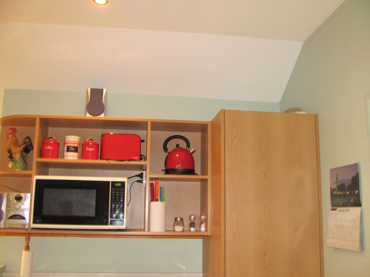 Equipped with Jug, Toaster and Microwave also crockery and cutlery.