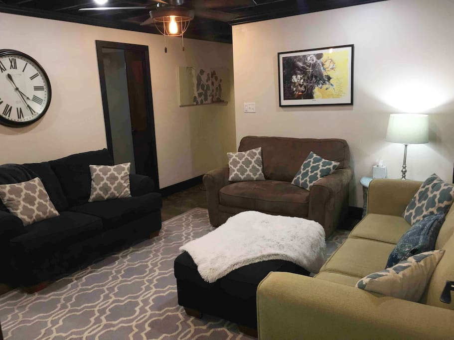 Living Room with comfy sofa, loveseat & XL chair with pullout bed