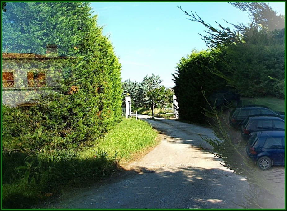 Entrance & private parking at Villa