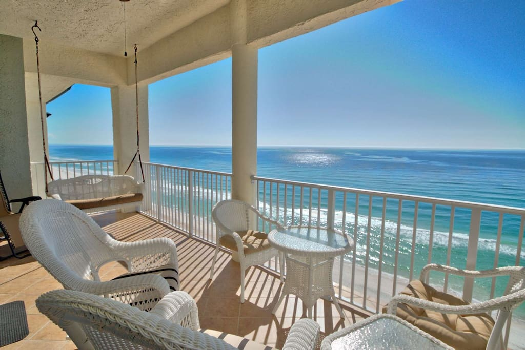 Imagine spending your mornings and afternoons on this beautiful balcony.