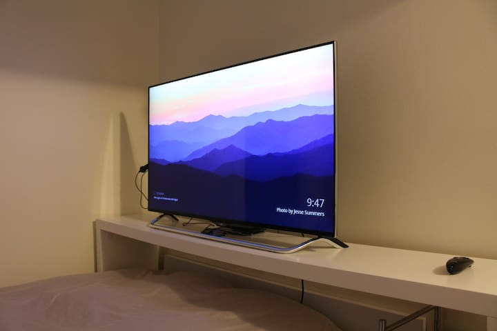 The 49-inch 4K 3D TV with Netflix, Amazon Prime, Chromecast, and local channels.