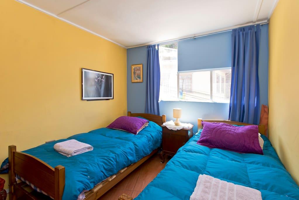 Habitación con dos camas de una plaza