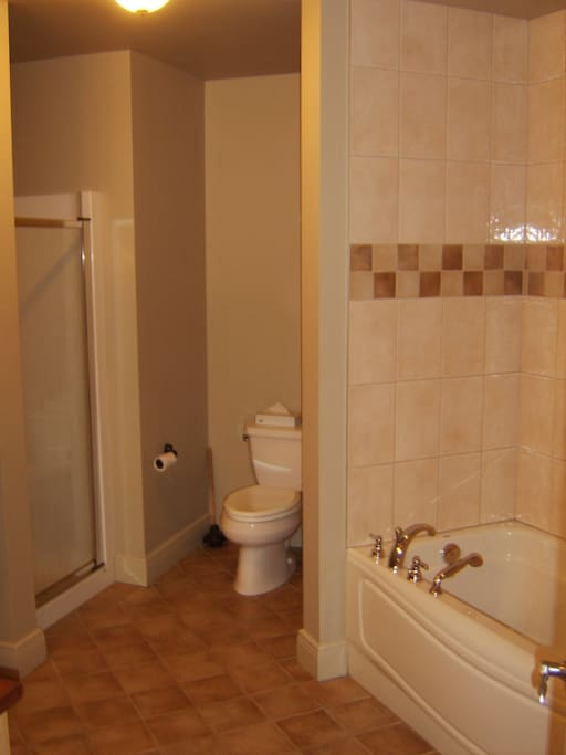 Salle de bain avec douche et bain