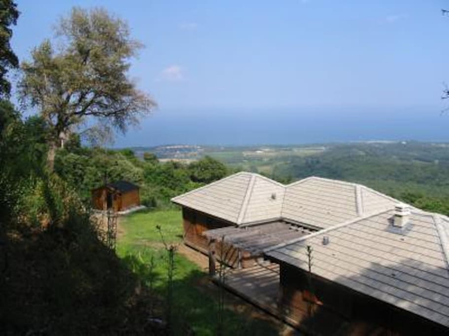 Maison bois isol e bord de mer maisons louer santa maria poggio corse - Maison bois bord de mer ...