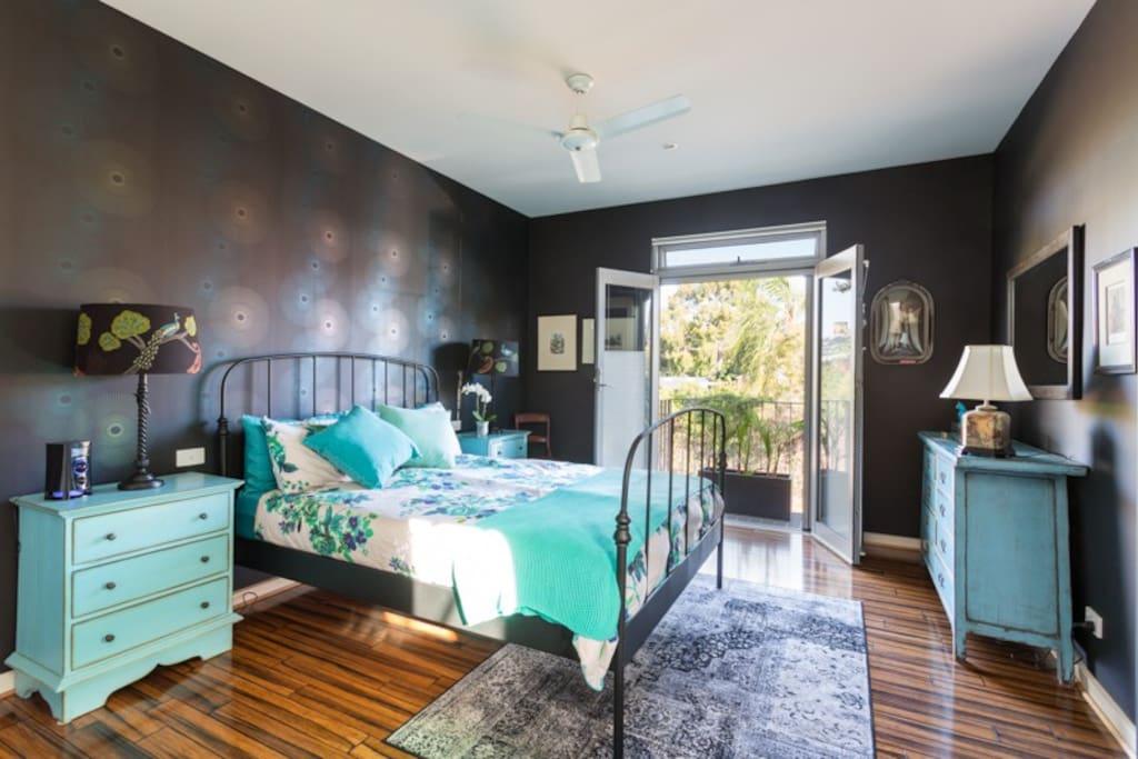 Upstairs bedroom with Juliette balcony