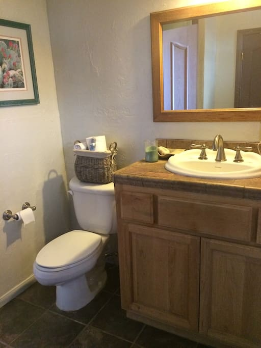 bathroom. there is a two person shower