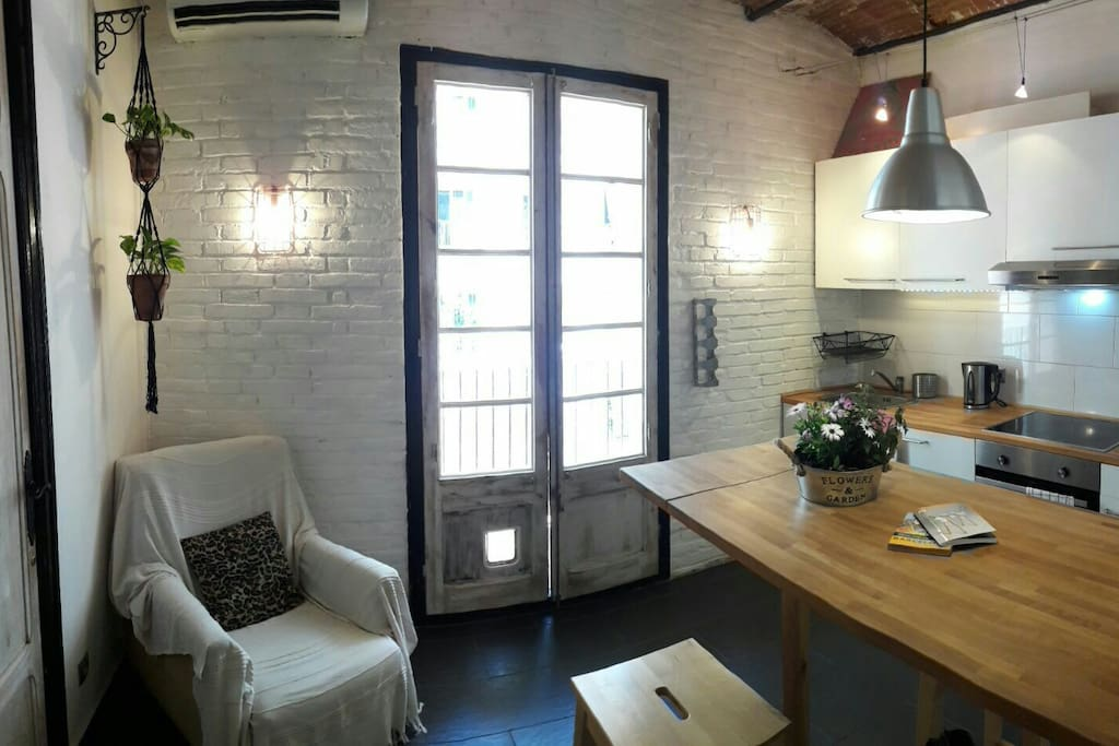 White brick wall at the living room