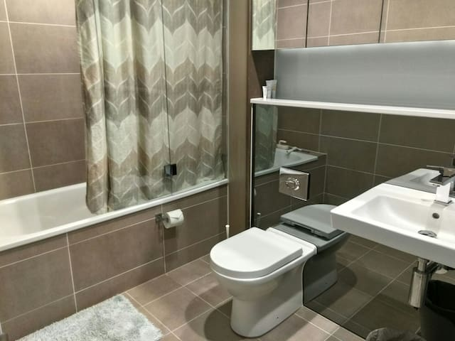 The En Suite Bathroom - equipped with all basic necessities including shampoos, conditioners, body wash, face and hand wash and hair dryer.