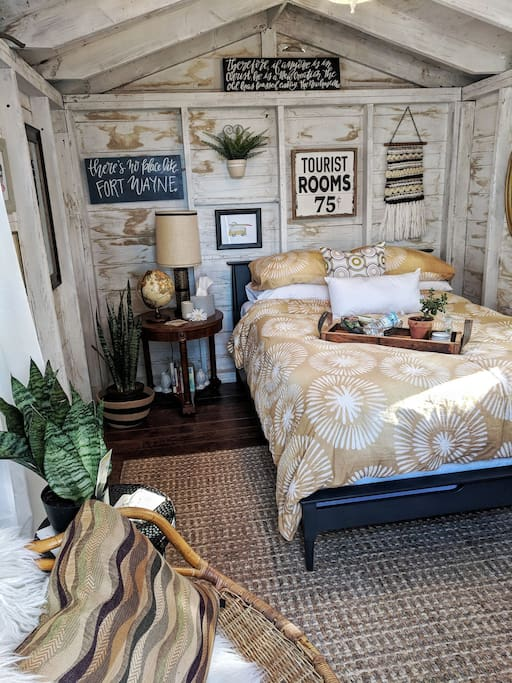 Here is our new look for 2018! Step into a cozy mid-mod/boho style bedroom with all the comforts of a hotel, but all the feel of camping!
