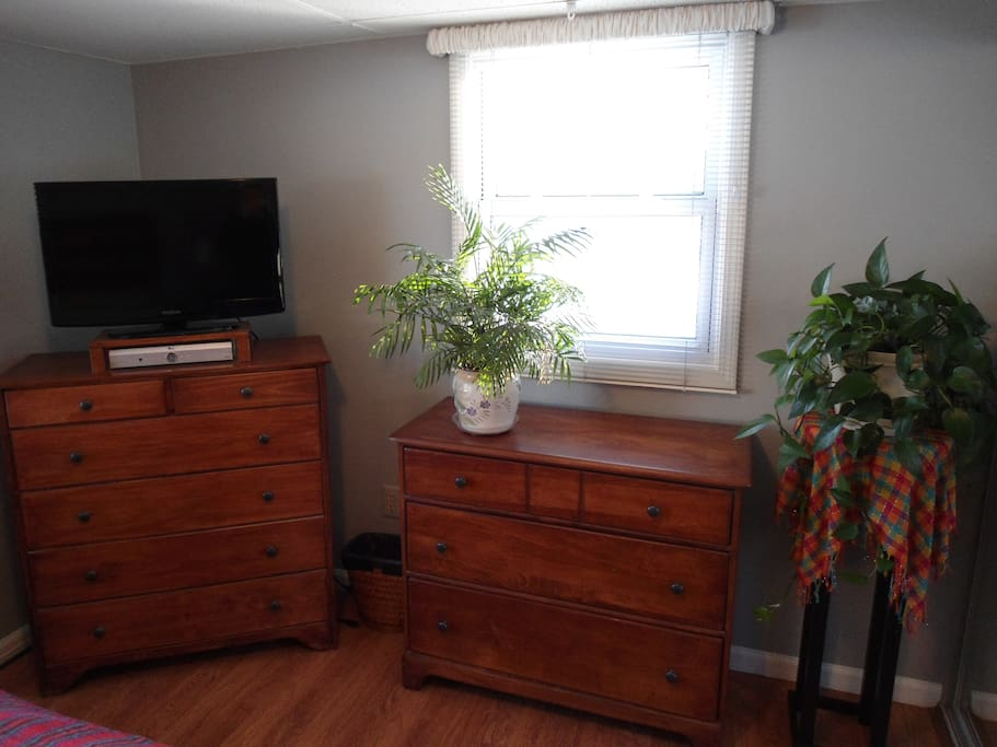 Dressers, storage and TV with DVD player.