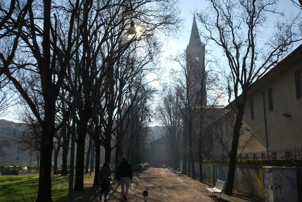 The park across the street with the church of Sant'Eustorgio