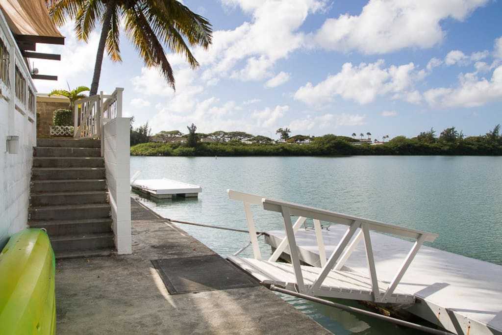 Boat dock with swim ladder and double Kayak