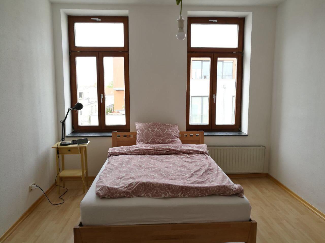 The bedroom with bedding for up to two