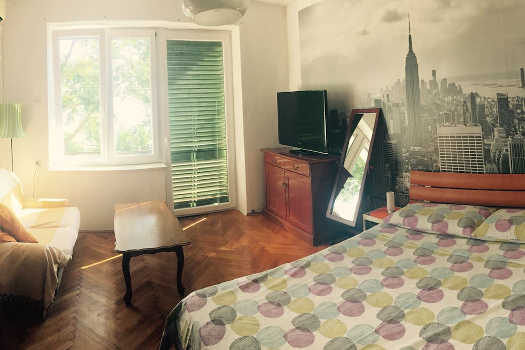 Panoramic view of the living/sleeping area
