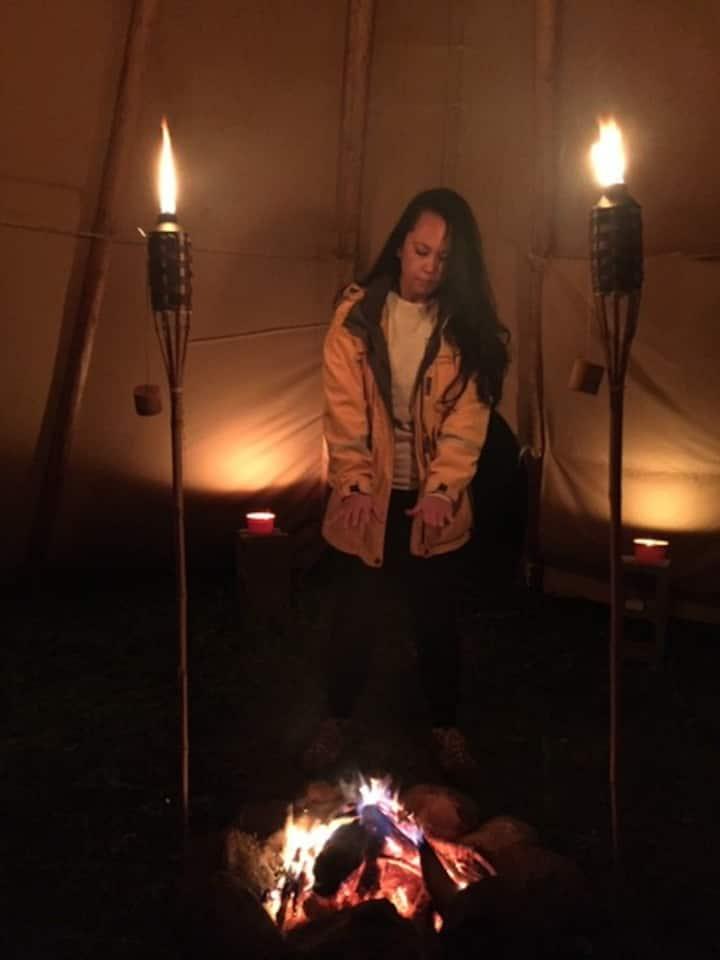 Unique primitive Tipi Camping experience