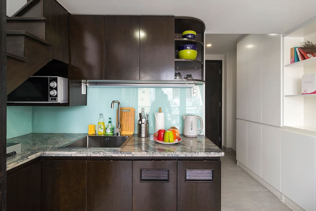Kitchenette with microwave