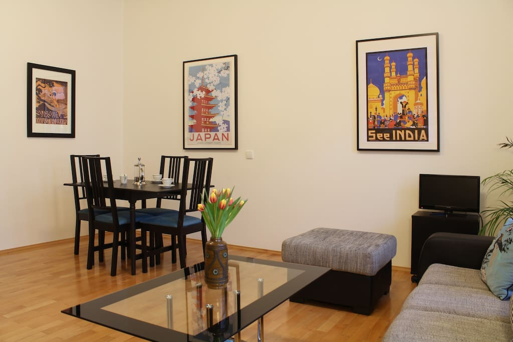 Dining area in living room.