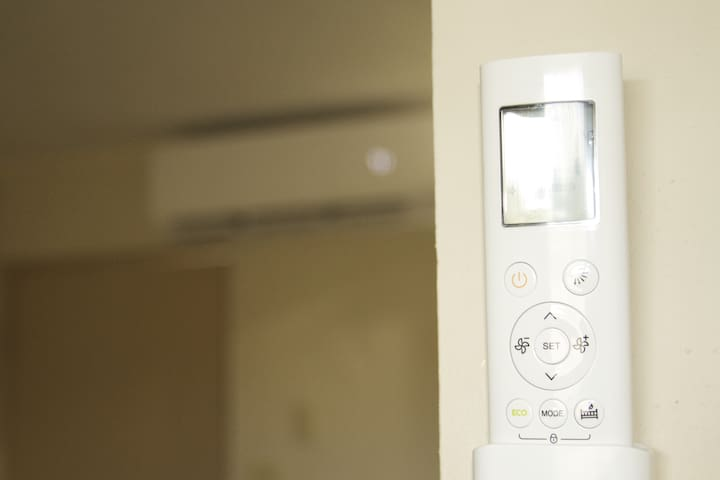 Split unit AC with remote control - helps with the Guam heat!