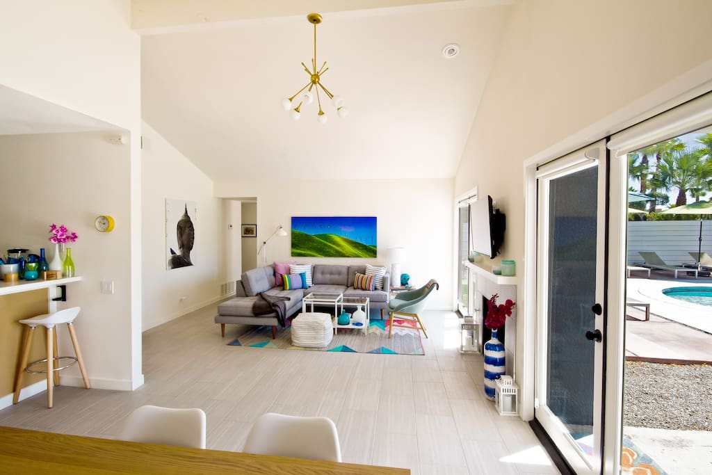 Vaulted ceilings in the living area