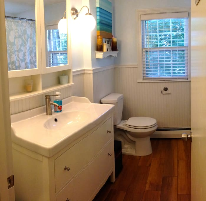Our newly remodeled bathroom we'll share.
