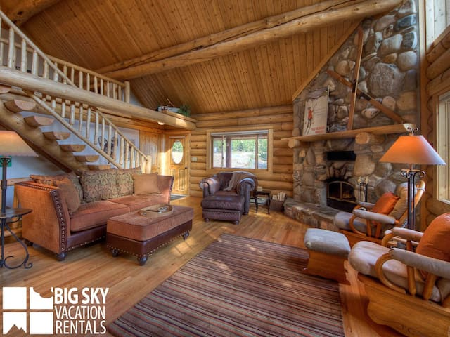 Lodging Big Sky Montana, White Otter Cabin, Living, 1