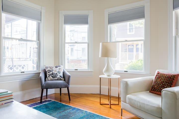 Plenty of windows allow the light to spill into this room.