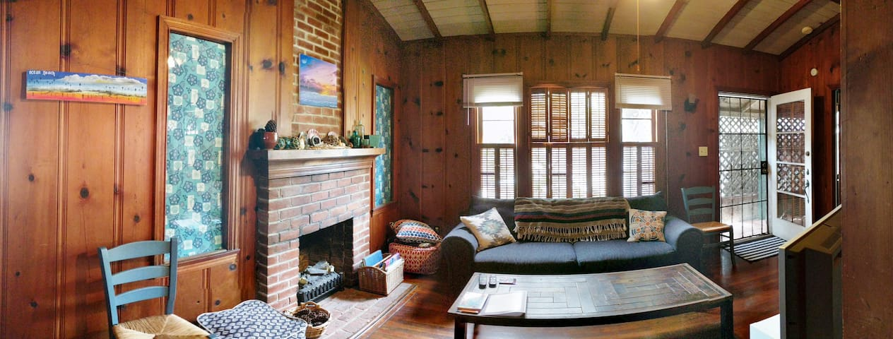 Your own comfy cabin-style living room, all original wood!