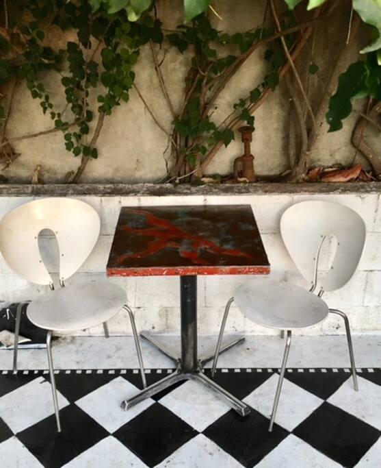 Coffee table in lower garden