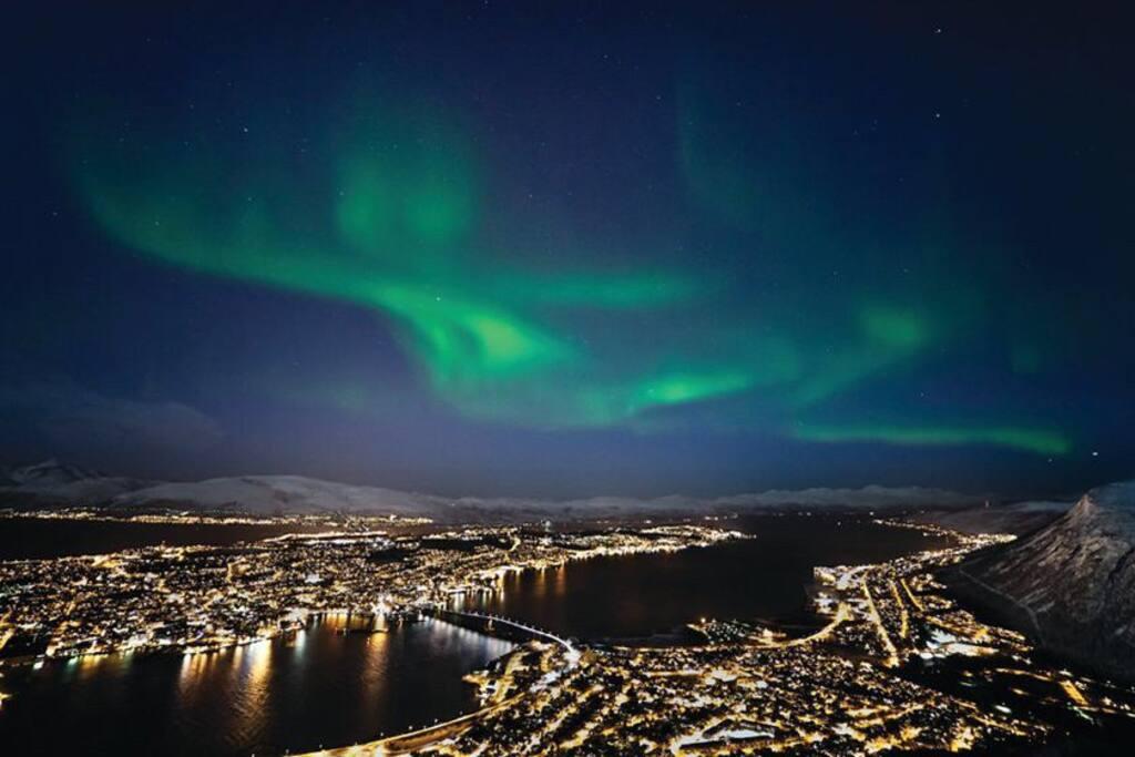 Aurora borealis, Northern light, dancing over Tromsø.