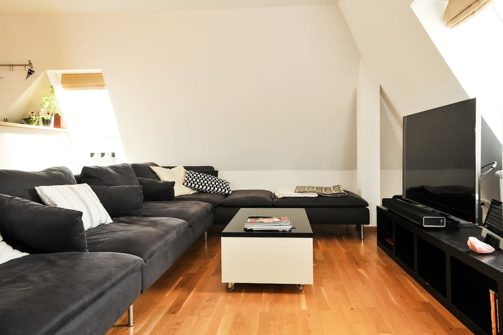 Living and dining area with up-to-date consumer electronics and access to terrace - shared space