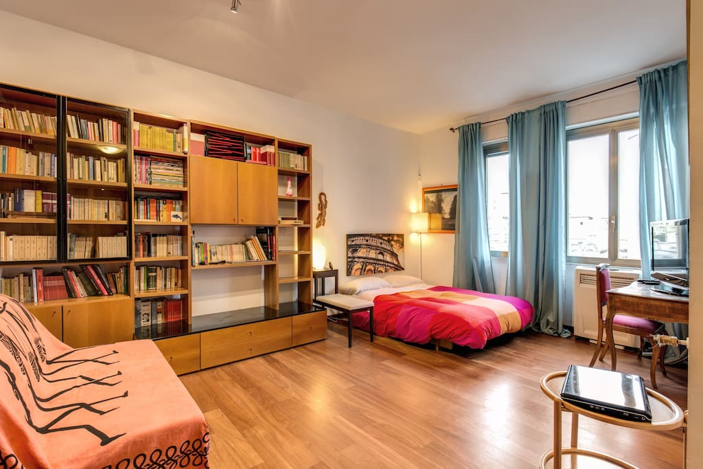 spacious room with sofa-bed close