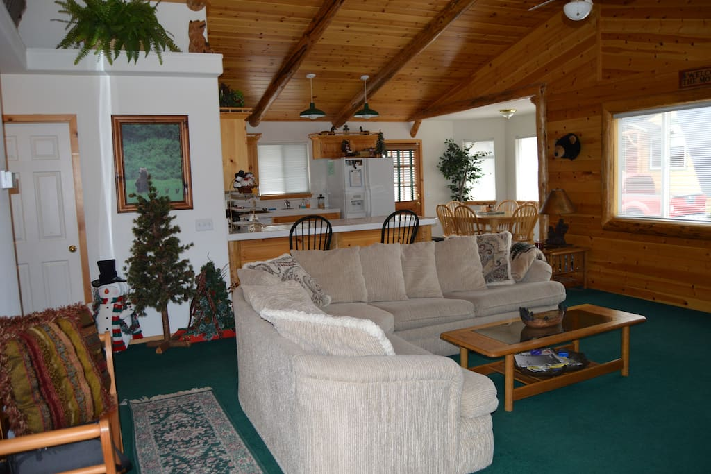 Great Room, Open concept living space with pull out Queen couch