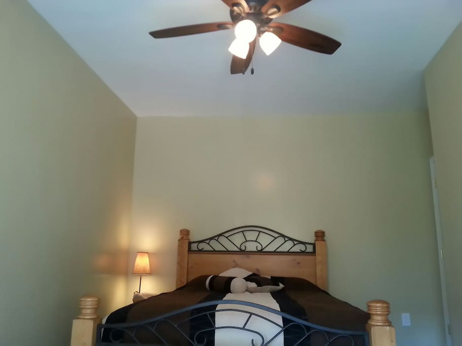Newly renovated queen bedroom with ceiling fan