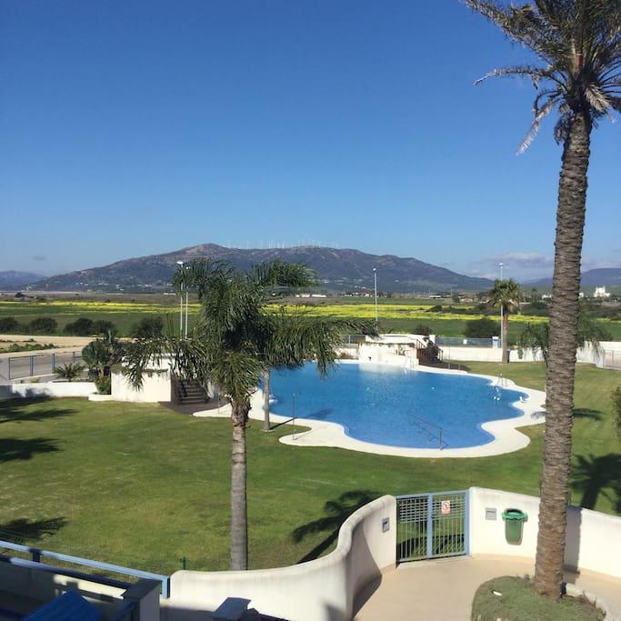 Gran piscina con 2 jacuzzis con vistas preciosas.....