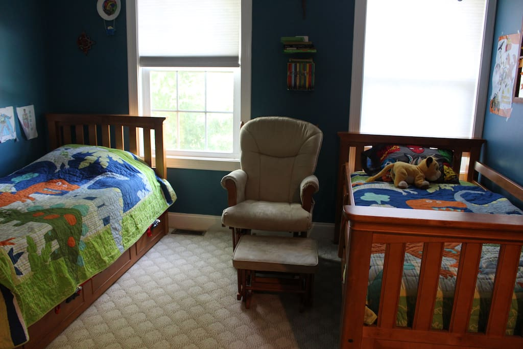 Bunk beds, trundle bed, and crib.