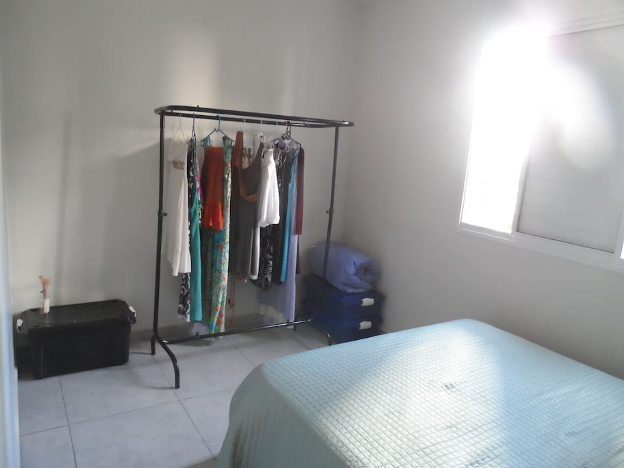 clothes rack in the bedroom