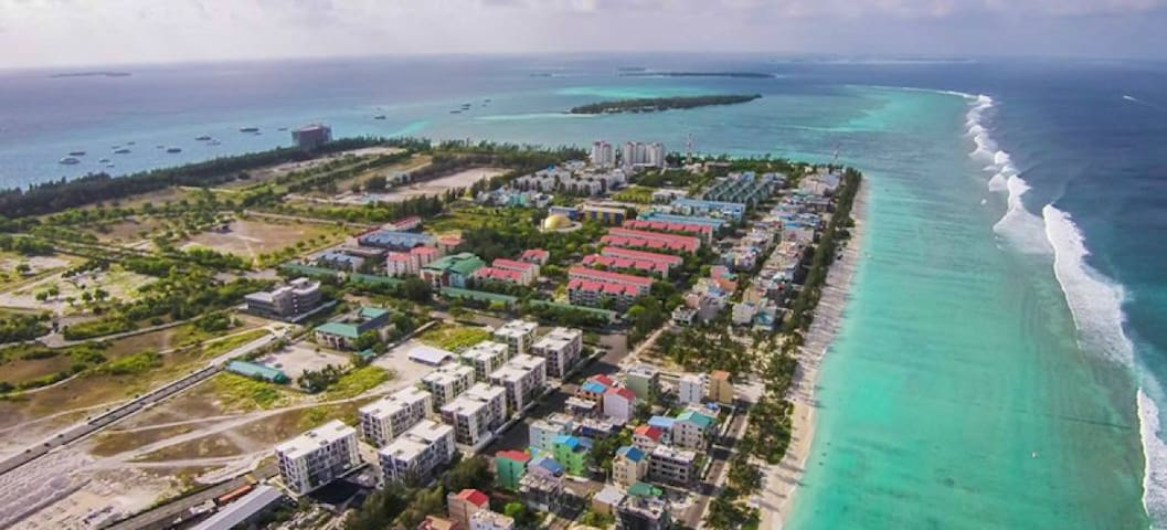 Hulhumale Beach side Arial View
