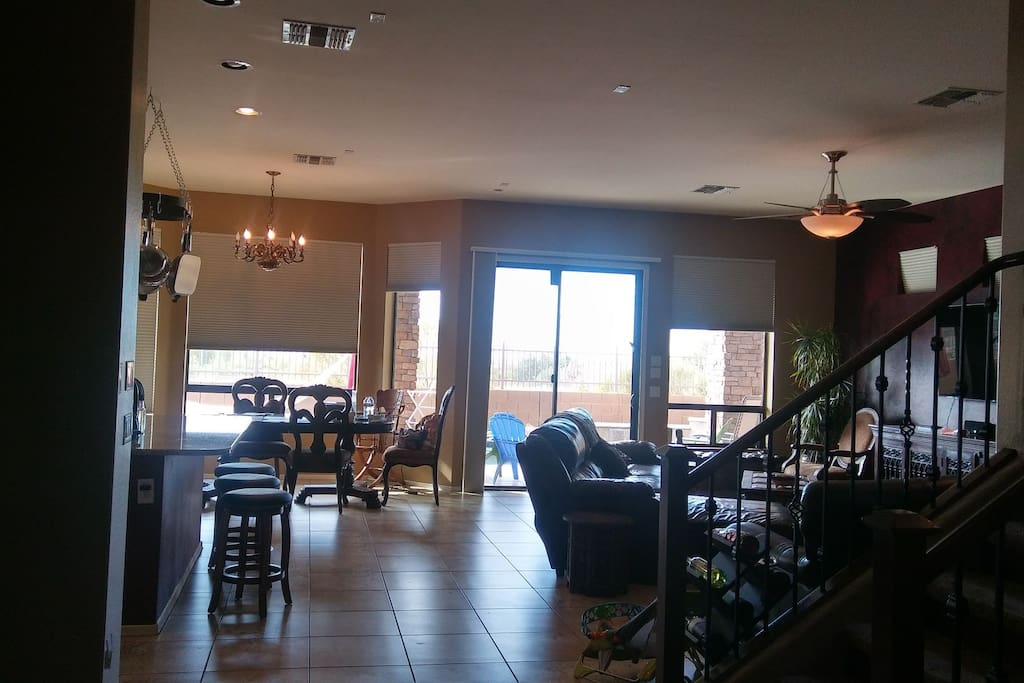 Main floor. You are welcome to lounge in the living room, cook til your heart's content in our gourmet kitchen and play in our spacious backyard.