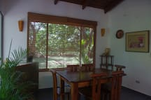 Inside Dining area with custom Guanacaste table and chairs