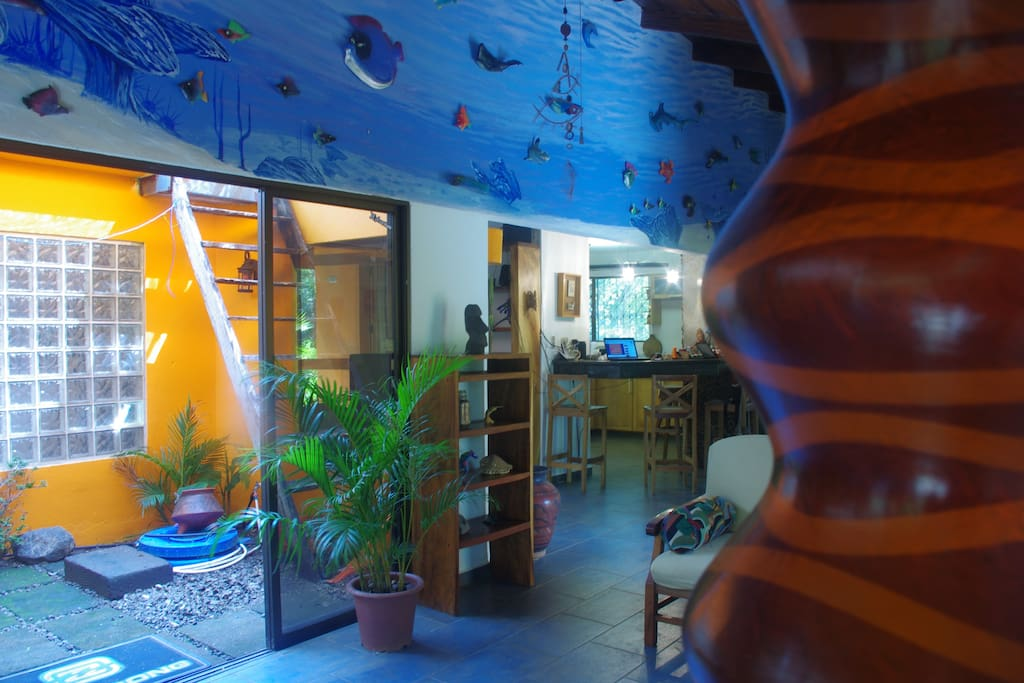 Casa Kalana features a 40' underwater mural with dozens of 3D handmade sea life sculptures by Mike Quinn. Simply amazing!