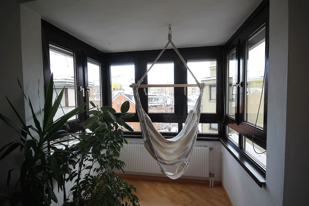 Bay window with hanging chair and nice view.