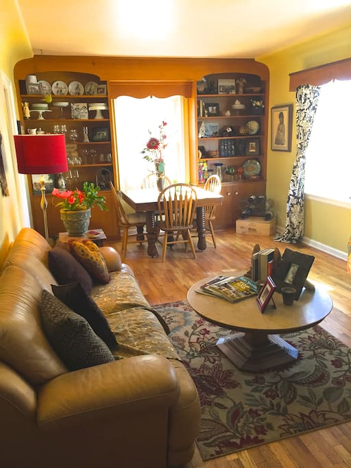 Bright, warm, living room/dining area