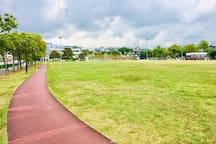 Big open field for jogging & exercising.