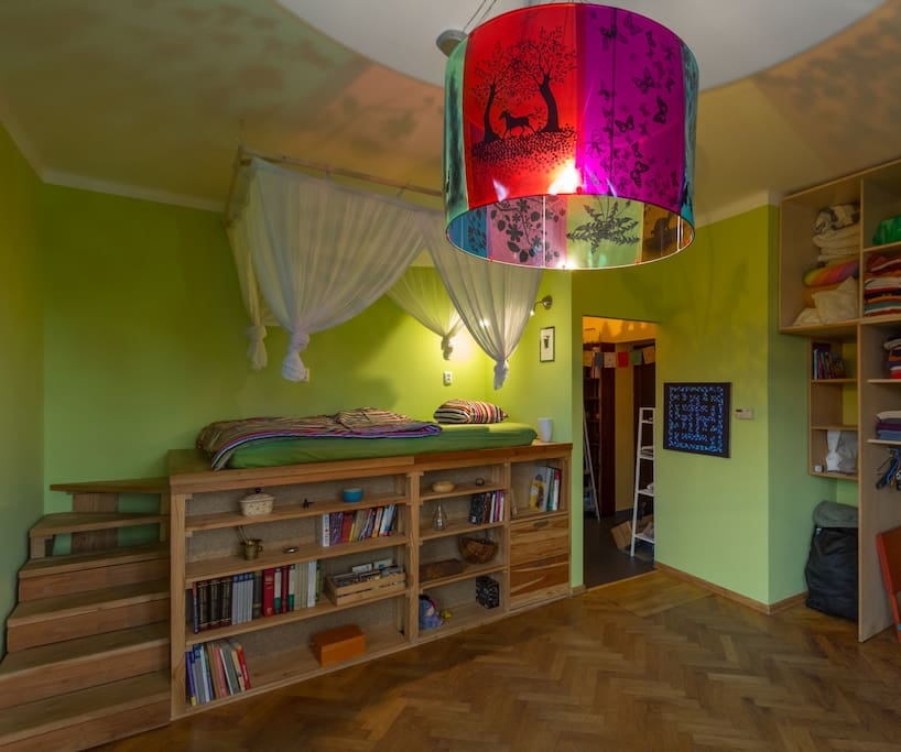 The bedroom, with the cosy mezzanine bed :)
