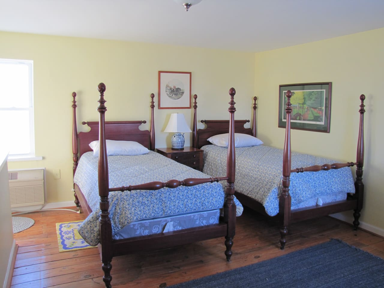 Twin beds set up.