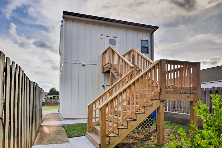 This studio is a carriage house located above a garage.