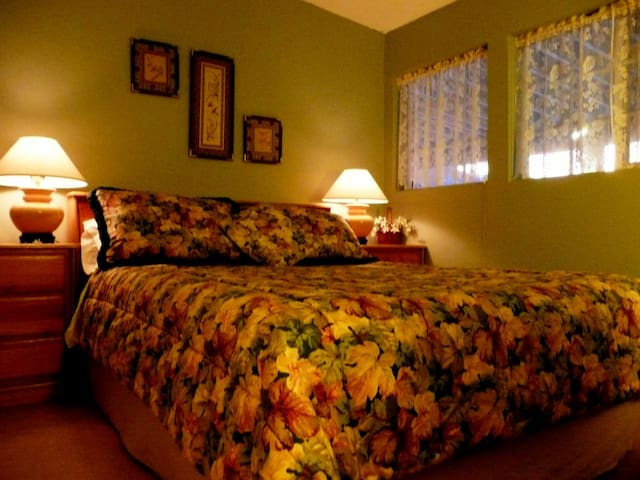 Queen bed with memory-foam mattress