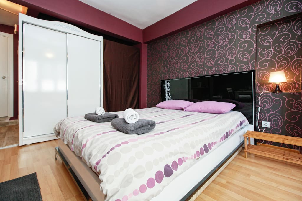Twin bed and wardrobe